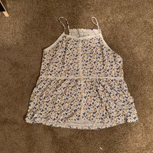 Blue & Yellow Floral American Eagle Tank Top
